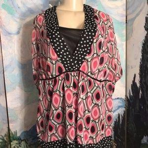 Fashion Bug Pink/Black Sheer Print Tunic Top
